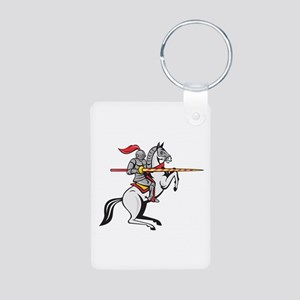 Knight Lance Steed Prancing Isolated Cartoon Keych