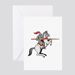 Knight Lance Steed Prancing Isolated Cartoon Greet