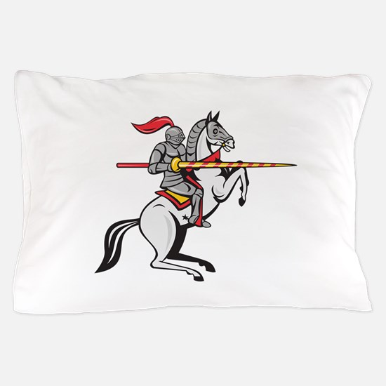 Knight Lance Steed Prancing Isolated Cartoon Pillo