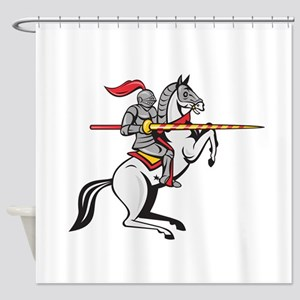 Knight Lance Steed Prancing Isolated Cartoon Showe