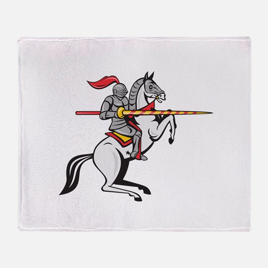 Knight Lance Steed Prancing Isolated Cartoon Throw