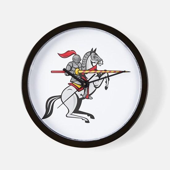 Knight Lance Steed Prancing Isolated Cartoon Wall