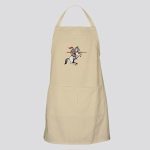 Knight Lance Steed Prancing Isolated Cartoon Apron