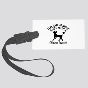 Sleep With Chinese Crested Dog D Large Luggage Tag