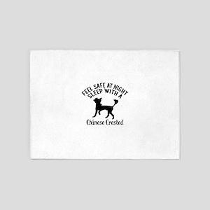 Sleep With Chinese Crested Dog Desi 5'x7'Area Rug