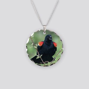 Red-Winged Blackbird Necklace Circle Charm