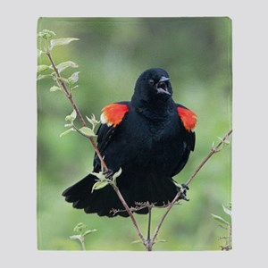 Red-Winged Blackbird Throw Blanket