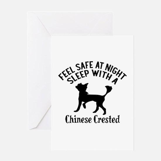 Sleep With Chinese Crested Dog Desig Greeting Card