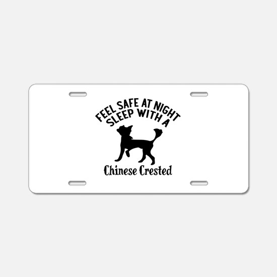 Sleep With Chinese Crested Aluminum License Plate