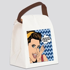 Chevron and Woman Pop Art Persona Canvas Lunch Bag