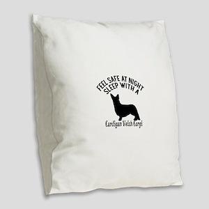 Sleep With Cardigan Welsh Corg Burlap Throw Pillow