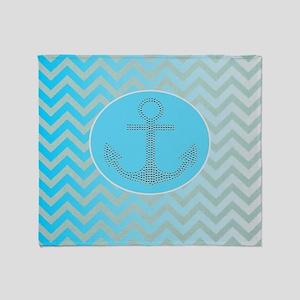 anchor ombre turquoise chevron Throw Blanket