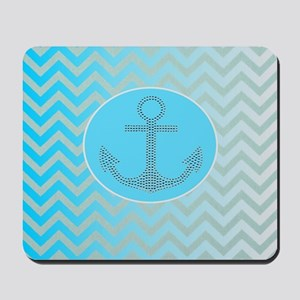 anchor ombre turquoise chevron Mousepad