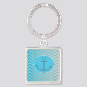 anchor ombre turquoise chevron Square Keychain