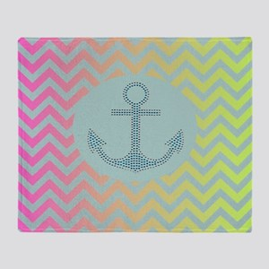 anchor mint pink ombre chevron  Throw Blanket