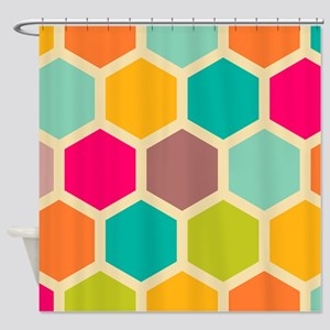 Hexagon Retro Shower Curtain