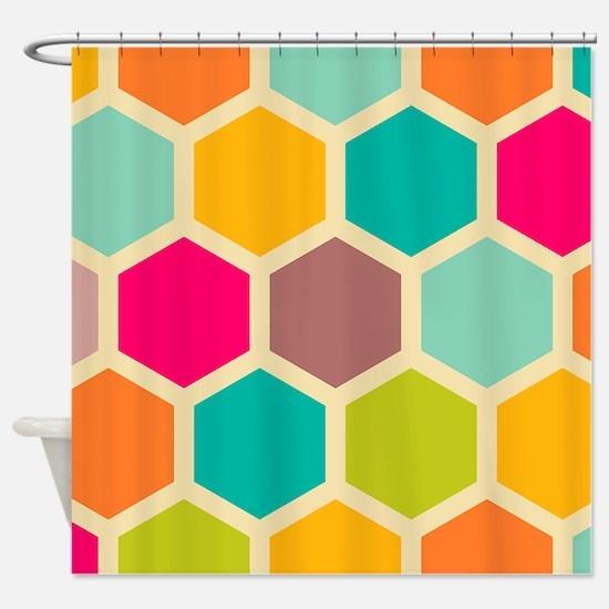 Hexagon Retro Shower Curtain