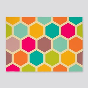 Hexagon Retro 5'x7'Area Rug