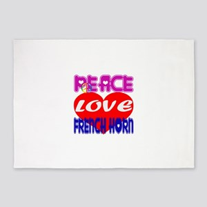 Peace Love French Horn 5'x7'Area Rug