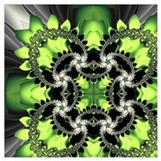 Fragments Pattern Green Poster