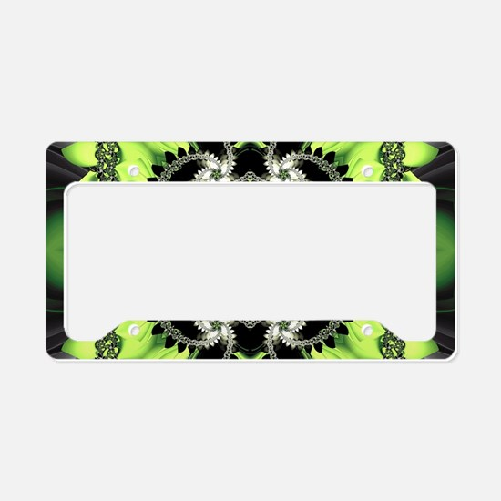 Fragments Pattern Green License Plate Holder