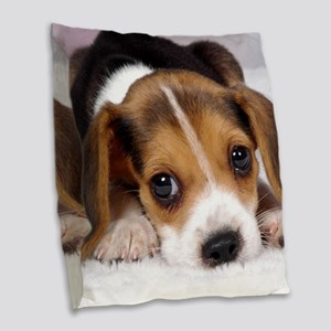 Cute Puppy Burlap Throw Pillow