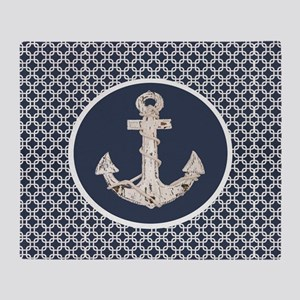navy blue geometric pattern anchor Throw Blanket