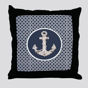 navy blue geometric pattern anchor Throw Pillow
