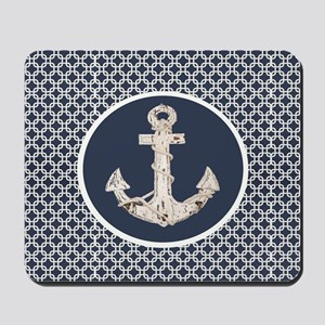 navy blue geometric pattern anchor Mousepad