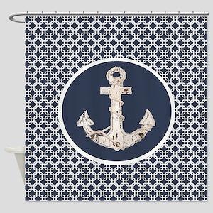 navy blue geometric pattern anchor Shower Curtain