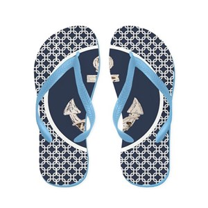 8840c3c1a Nautical Flip Flops - CafePress