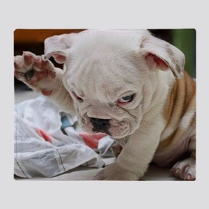 Funny English Bulldog Puppy Throw Blanket