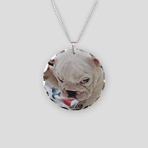 Funny English Bulldog Puppy Necklace Circle Charm