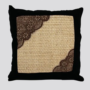 burlap lace primitive western country Throw Pillow