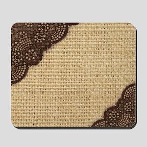 burlap lace primitive western country Mousepad