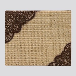 burlap lace primitive western countr Throw Blanket