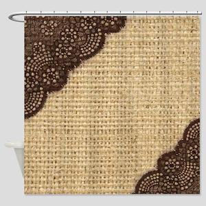 burlap lace primitive western count Shower Curtain