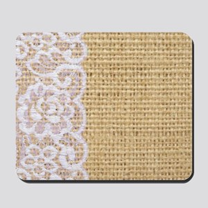 burlap and lace shabby chic Mousepad