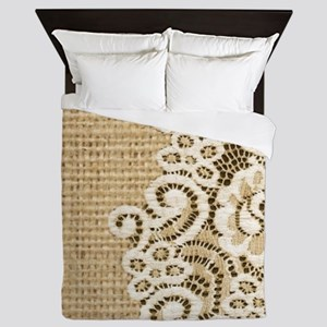 vintage rustic burlap and lace Queen Duvet