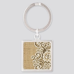 vintage rustic burlap and lace Square Keychain