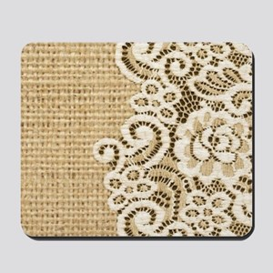 vintage rustic burlap and lace Mousepad