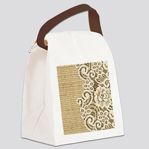 vintage rustic burlap and lace Canvas Lunch Bag