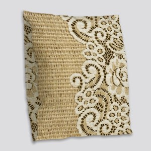vintage rustic burlap and lace Burlap Throw Pillow