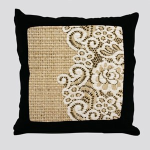 vintage rustic burlap and lace Throw Pillow