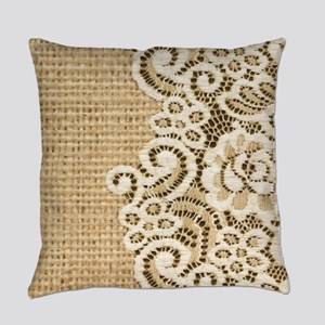 vintage rustic burlap and lace Everyday Pillow