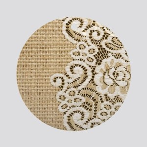 vintage rustic burlap and lace Round Ornament