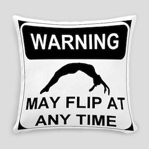 Warning May Flip Gymanstics Everyday Pillow