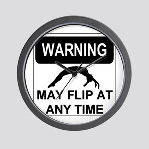 Warning May Flip Gymanstics Wall Clock