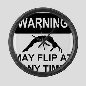 Warning may flip gymanstics Large Wall Clock
