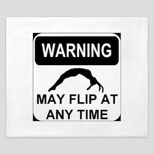 Warning May Flip Gymanstics King Duvet